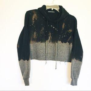 Brandy Melville cropped dye dipped hoodie